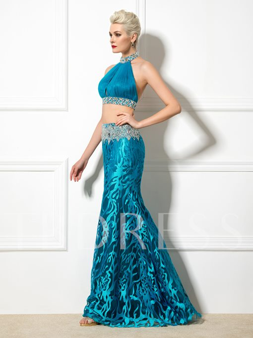 Two Pieces High Neck Mermaid Lace Ruched Beaded Evening Dress