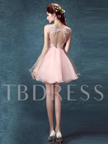 A-Line Round Flowers Beading Backless Homecoming Dress