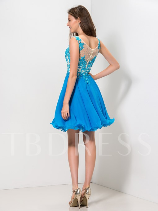 Straps A-Line Appliques Beading Zipper-Up Homecoming Dress