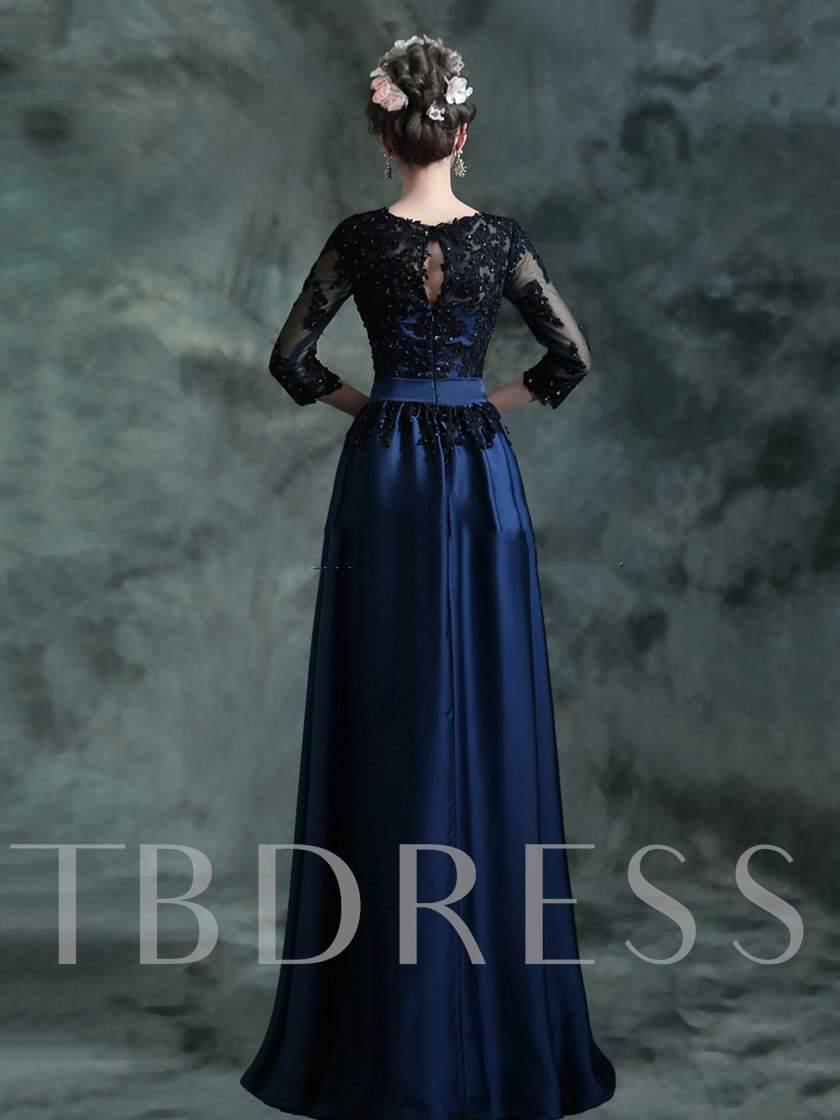 Floor-Length Appliques 3/4 Length Sleeve Mother of the Bride Dress