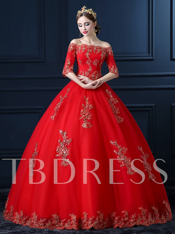 Appliques ball gown red wedding dress tbdress appliques ball gown red wedding dress junglespirit Images