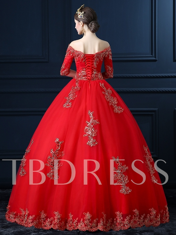 Half Sleeves Appliques Ball Gown Red Wedding Dress