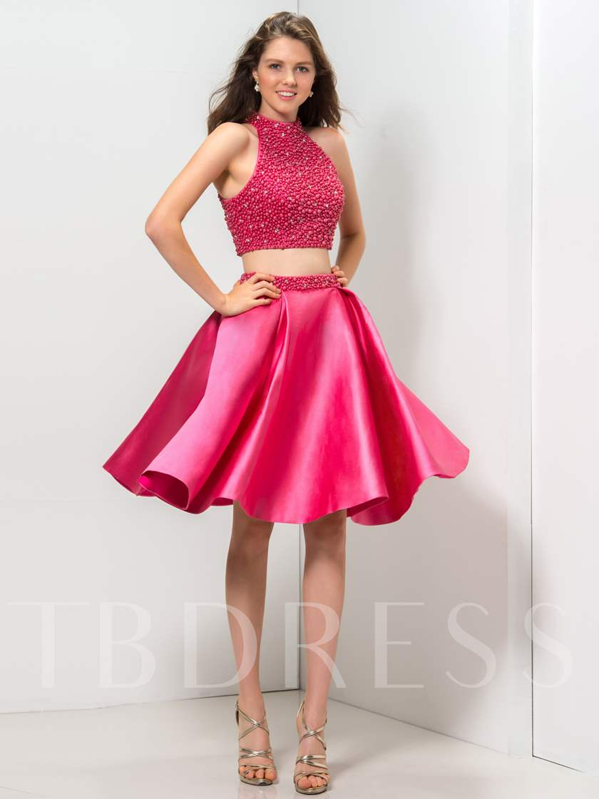 High Neck Pearls Beaded Two Pieces Homecoming Dress