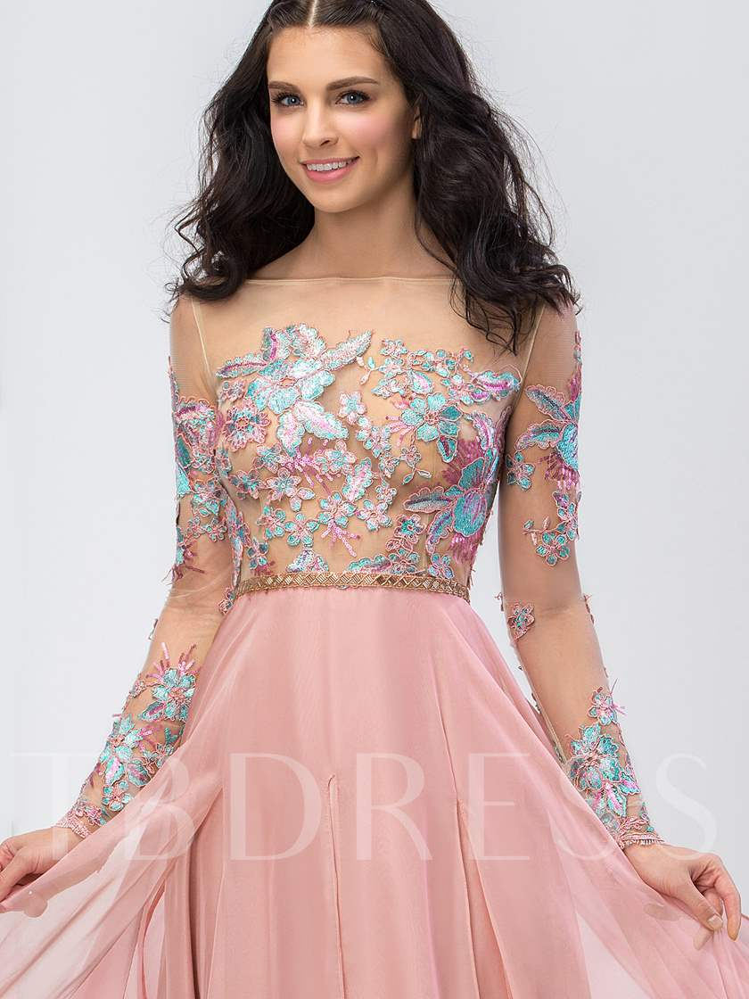 Long Sleeves Off-the-Shoulder Flowers Beaded Prom Dress