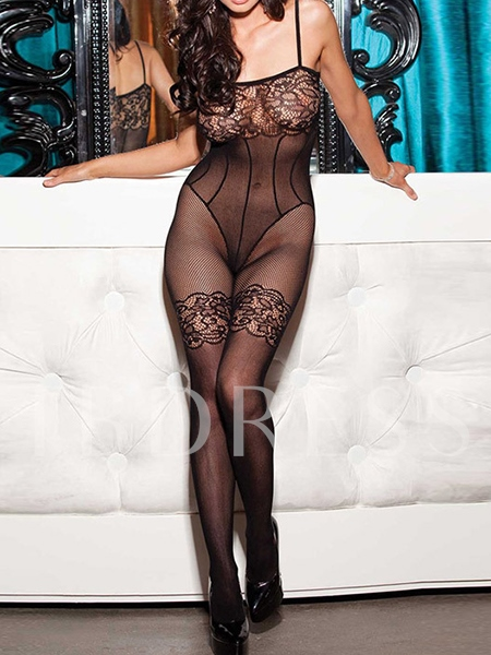 Floral Lace Fishnet Hollow-out Women's Teddy