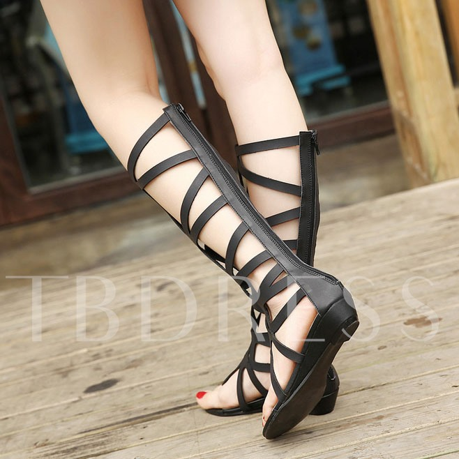 Thong Hollow Low Heel Women's Sandals (Plus Size Available)