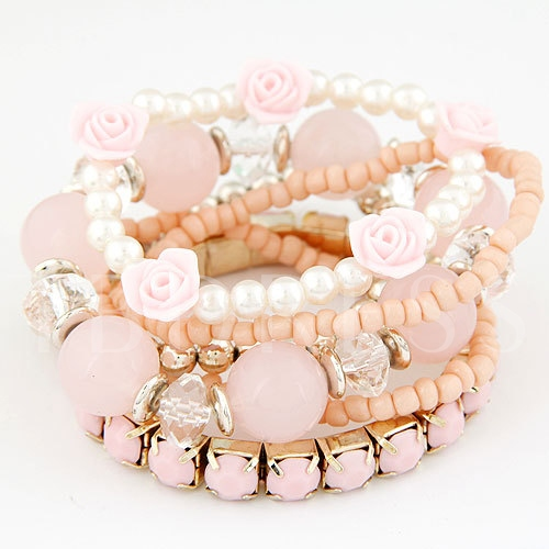 Candy Color with Flower Elastic Bracelet