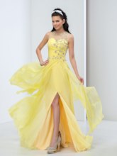 Jewel Neck A-Line Beading Ruched Split-Front Prom Dress