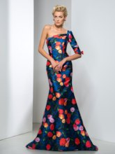 One-Shoulder Flowers Printed Evening Dress