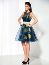 A-Line Jewel Neck Bow Printed Cocktail Dress