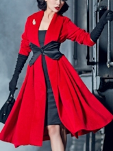 Bowknot Falbala Patchwork Lace-Up Women's Overcoat