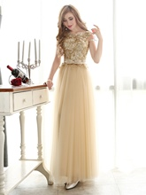 A-Line Appliques Bowknot Floor-Length Prom Dress