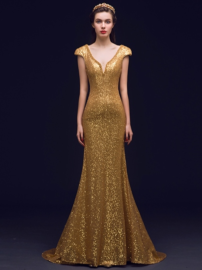 Cap Sleeve Mermaid V-Neck Sequins Court Train Evening Dress