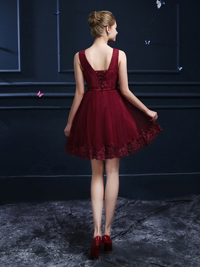 A-Line V-Neck Belt Lace Homecoming Dress