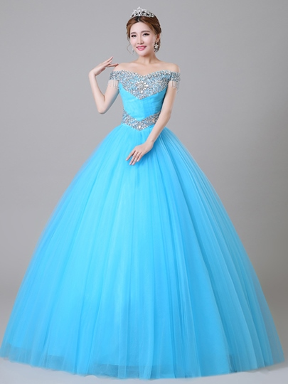 Off-the-Shoulder Sequins Beading Quinceanera Dress