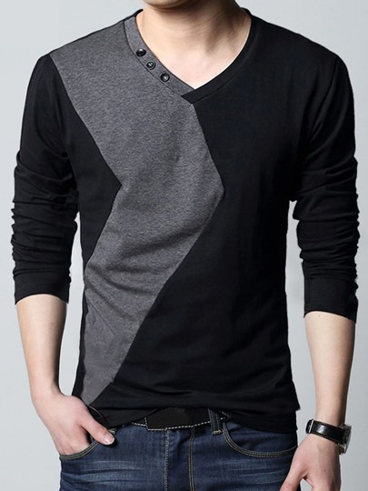V-Neck Button Collar Men's Sweater