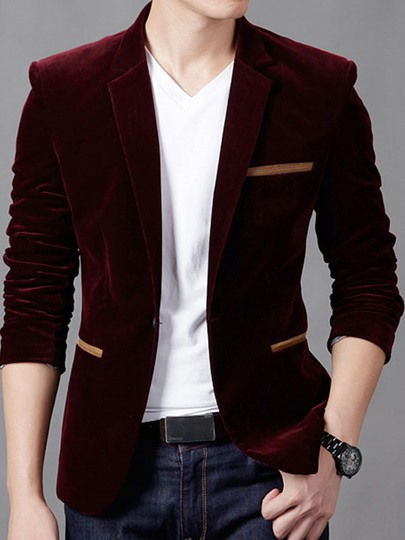 Notched Collar Slim Fit Men's Blazer