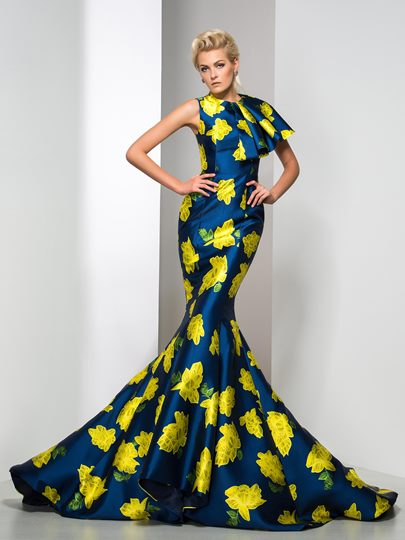 Mermaid Jewel Neck Flower Printed Court Train Evening Dress