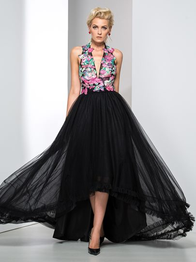Halter A-Line Asymmetric Flowers Evening Dress