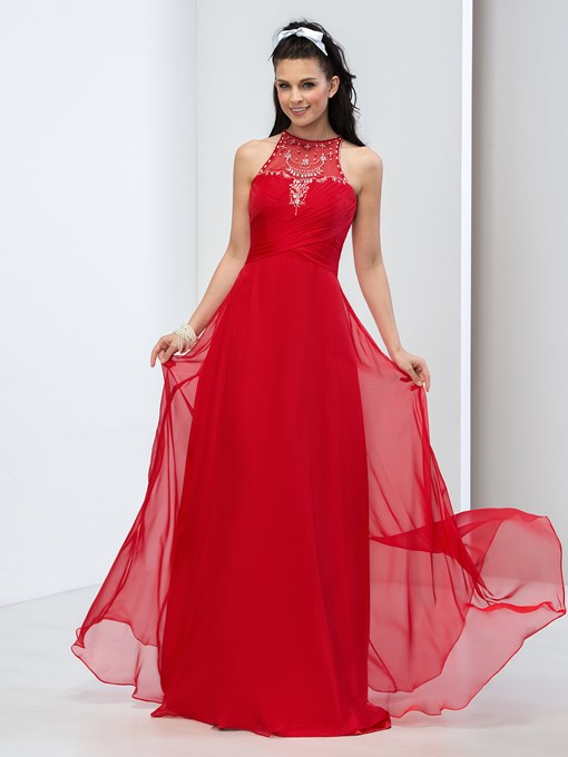 Jewel Neck A-Line Ruched Pearls Rhinestone Prom Dress