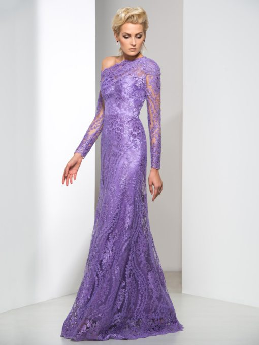Sheath Long Sleeve Lace Evening Dress