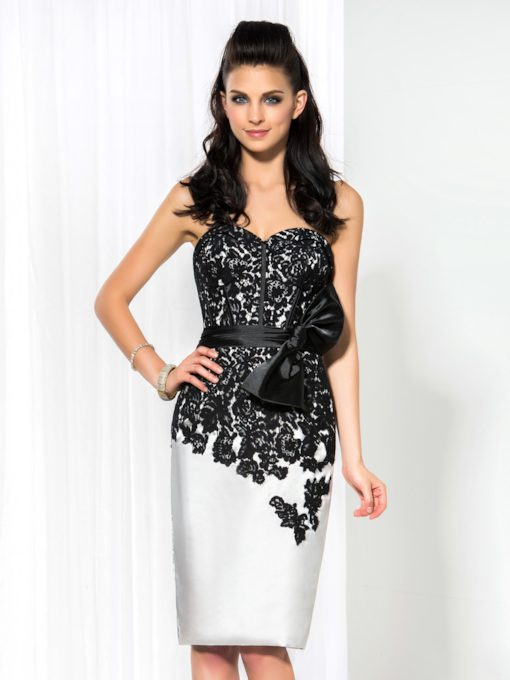 Sweetheart Sheath Bow Lace Short Cocktail Dress
