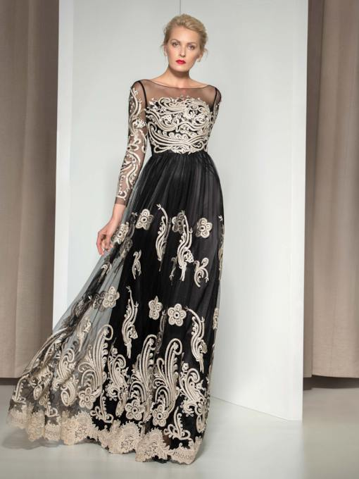 Long Sleeve Bateau Neck A-Line Lace Evening Dress