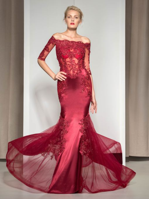 Mermaid Sequins Appliques Half Sleeves Evening Dress