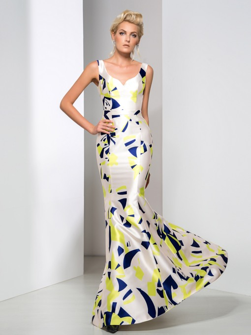 V-Neck Mermaid Printed Floor-Length Evening Dress