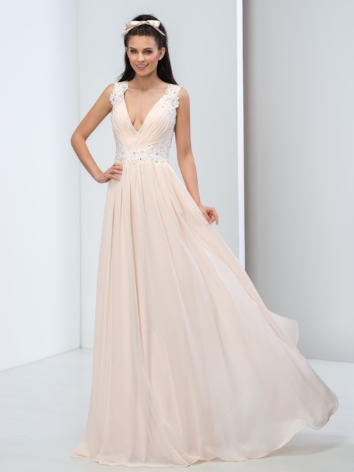 A-Line V-Neck Lace Beaded Prom Dress