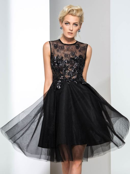 A-Line Jewel Neck Appliques Sequins Lace Cocktail Dress