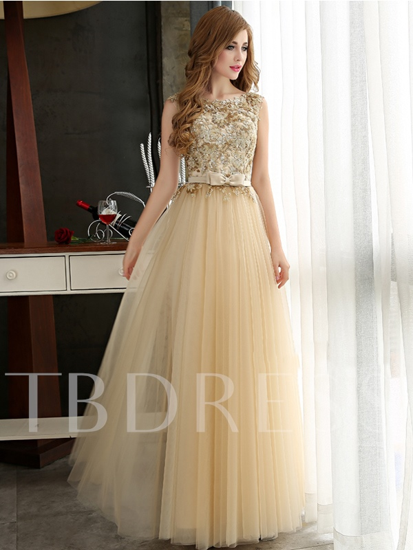 Image of A-Line Appliques Bowknot Floor-Length Prom Dress