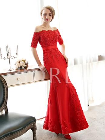 Off-the-shoulder Lace Long Evening Dress
