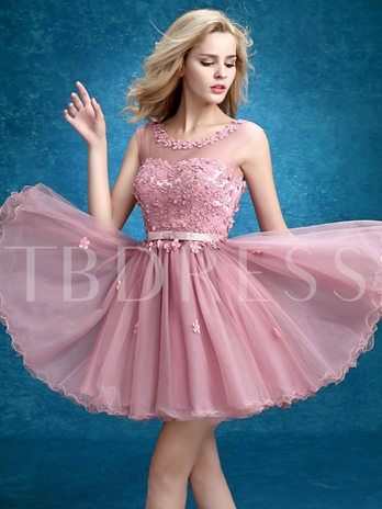 A-Line Round Neck Flower Pearls Belt Homecoming Dress