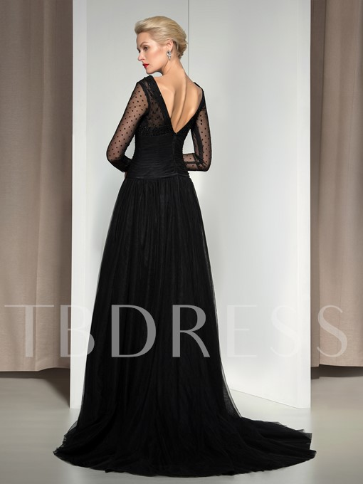 Long Sleeve V-Neck A-Line Ruched Beaded Court Train Evening Dress