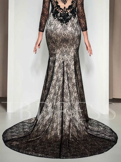 High Neck Long Sleeve Mermaid Lace Appliques Beaded Evening Dress