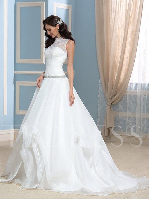 Sheer Back Beading Lace A-Line Court Wedding Dress
