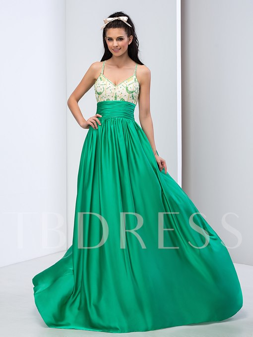 A-Line Spaghetti Straps Beading Sweep Train Prom Dress