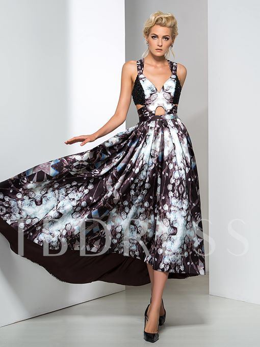 A-Line Straps Flower Printed Asymmetric Evening Dress