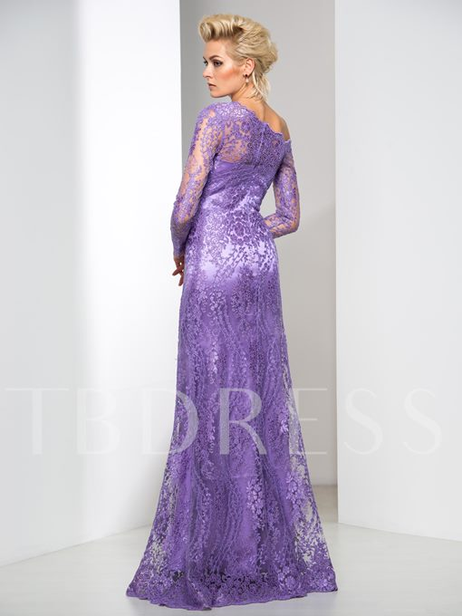 Long Sleeve One-Shoulder Sheath Lace Floor-Length Evening Dress