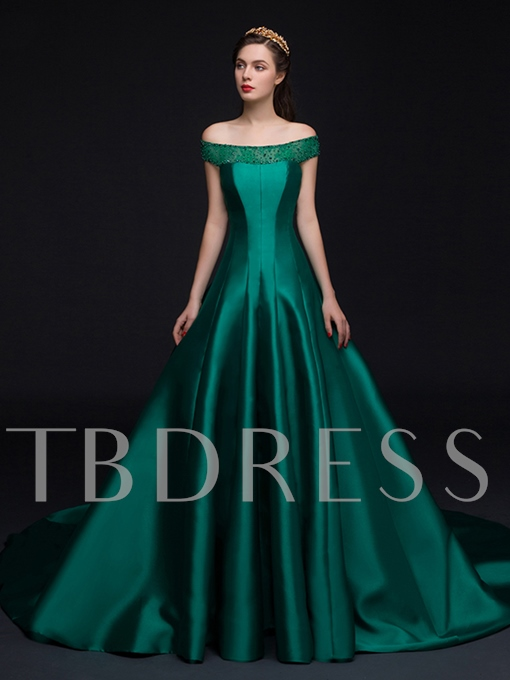 Off-the-Shoulder A-Line Beading Bowknot Evening Dress