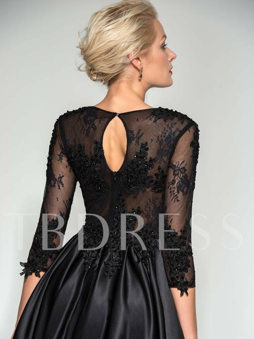 A-Line Scoop Beaded Appliques Evening Dress