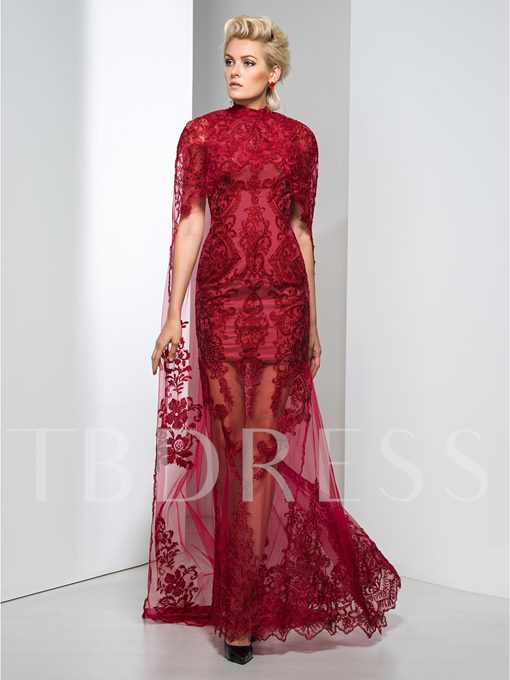 High Neck Mermaid Lace Sweep Train Evening Dress