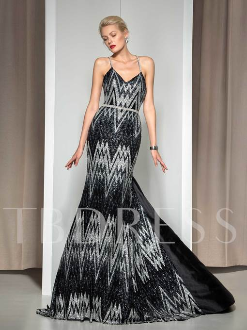 A-Line Spaghetti Straps Sequins Criss-Crop Straps Court Train Evening Dress