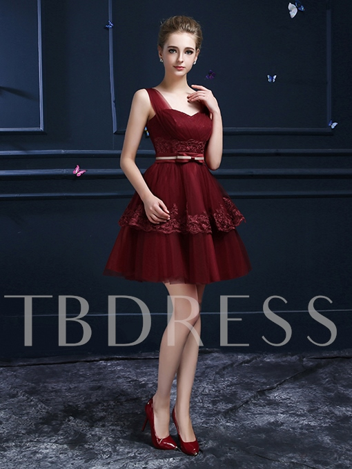 Straps A-Line Lace Ruched Homecoming Dress