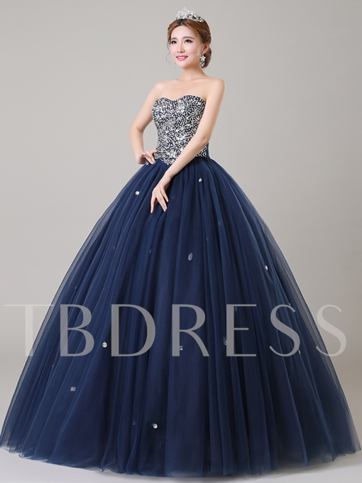 Beaded Sweetheart Sleeveless Quinceanera Dress