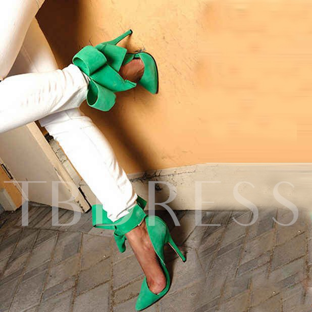 Black Ribbon Bowknot Stiletto Heel Pumps