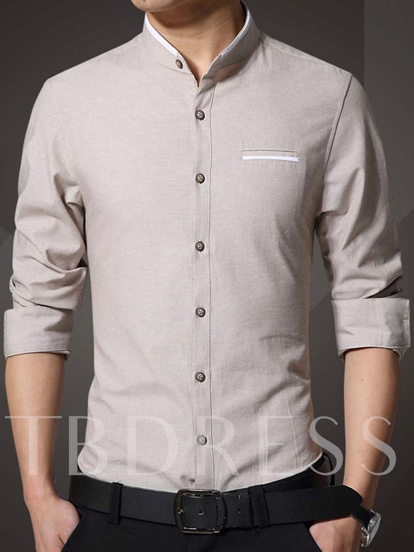 Lapel Designed Pocket Solid Color Slim Fit Casual Men's Shirt