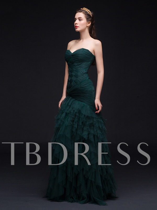 Sweetheart Mermaid Ruched Ruffles Sweep Train Evening Dress