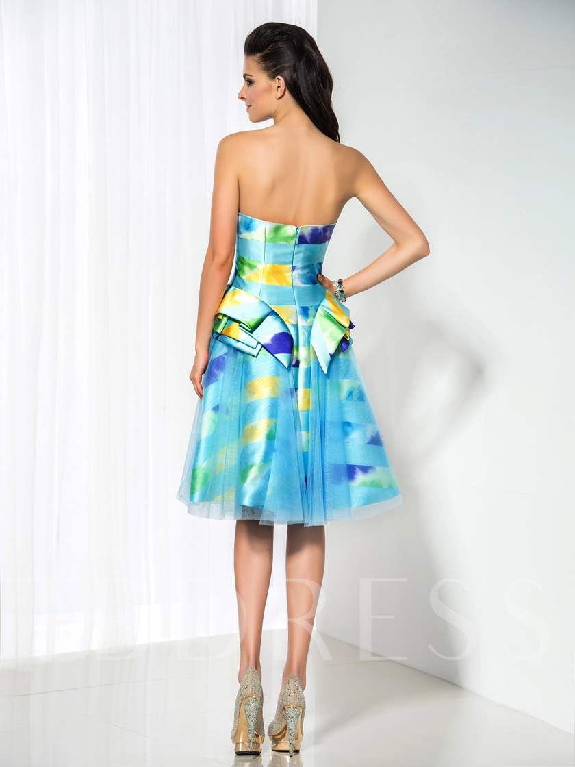 A-Line Strapless Printed Knee-Length Cocktail Dress